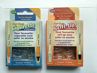 Tar Ban Cigarette Filters - 1 pack of 15 - for ROLL UP & SHOP BOUGHT cigarettes