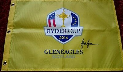 Stephen Gallacher signed ryder cup 2014 pin flag / COA