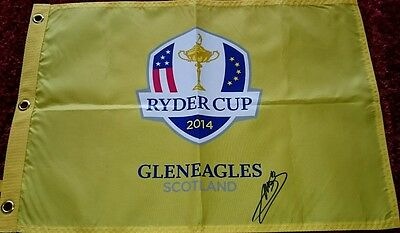 Victor dubuisson signed ryder cup 2014 pin flag / COA
