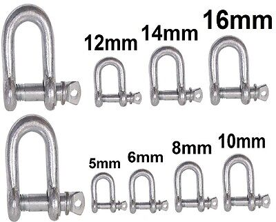 2 X Galvanised Dee D Shackles Towing Lifting U Loop Pin Link Chain Bow Connector