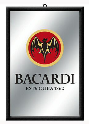 Framed Bar Mirror - 'BACARDI Bat' colour Logo image 20 x 30cm in box CUBA 1862
