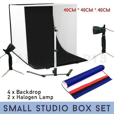 Photography Studio Photo Light Tent 40CM Cube 4x Backdrops Soft Box Lighting Kit