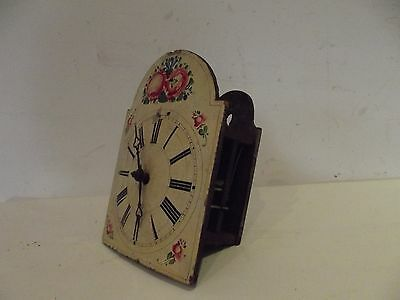 former cuckoo wall clock XIXth time antique Grandfather WATCHMAKERS painted flow