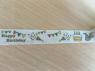 15mmx10m Happy Birthday Party Printed Washi tape Bunting Cake Hat