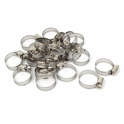 16-25mm Phillips Head Screws Stainless Steel Hose Clips Pipe Clamps 20 Pcs