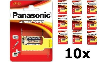 10x Panasonic PHOTO Power CR123A blister lithium battery NK083 GB