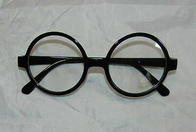Wizard Black GLASSES Round FANCY DRESS School Boy Geek Wally NERD Retro Joke