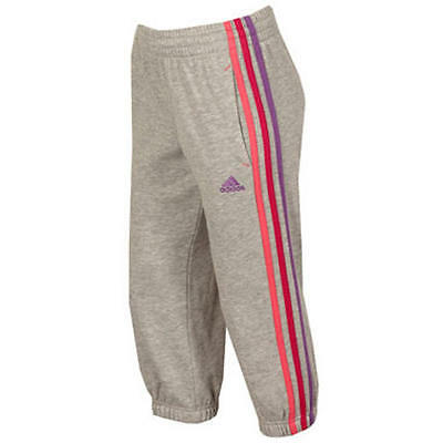 New adidas Infant Girls Grey 3S  Sweat Pants Bottoms 1-6 yrs - W66054