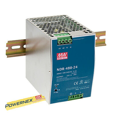 [POWERNEX] MEAN WELL NDR-480-24 24V 20A 480W AC/DC Single Output Power Supply