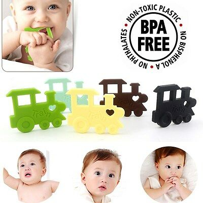 Baby Safe Silicone Teether Pacifier Clip Train Bead Teething Toy Soother No Bpa