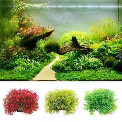 Plastic Artificial Water Green Red Grass Plant Aquarium Fish Tank Ornament Decor