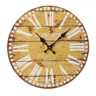 Paris Antique Vintage large Yellow Wooden Station Wall Art Home Office Clock