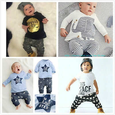 Summer Baby Boy Toddler Casual T-shirt Tops+Harem Pants 2pcs Outfits Set 0-5Y