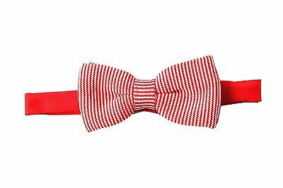 Men's Red and White Stripe Chunky Knit Bowtie