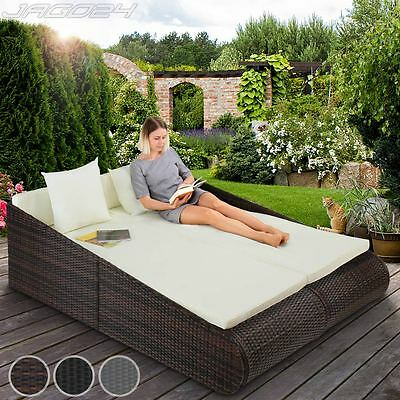 Polyrattan Sun Lounger 2 Persons Terrace Day Bed Recliner Patio Garden Outdoor