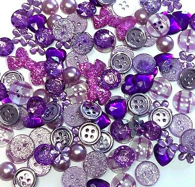 150 Lilac  Button & Flatback Mix Embellishments Cardmaking Resin Craft Buttons