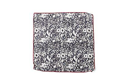 Men's Navy Pocket Square with White Floral Print