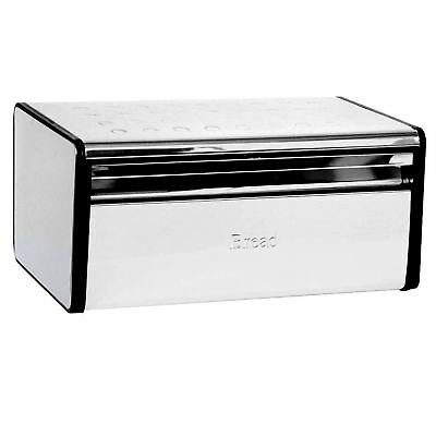 BREAD BIN Rectangular Food Loaf Box Storage Container Stainless Steel Silver