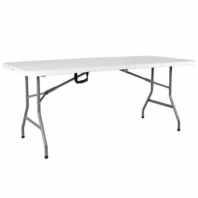 Folding Table 5ft White Steel Portable Camping Picnic Trestle Outdoor Indoor