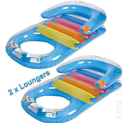 Inflatable Swimming Pool Lounger Lilo Reclining Float Beach Air Bed Mat Sun Bed