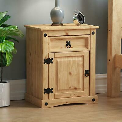 CORONA BEDSIDE CABINET 1 Drawer 1 Door Mexican Solid Waxed Pine Storage Unit