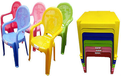 Childrens Kids Plastic Table And Chairs Set Nursery Indoor Outdoor Garden Chairs