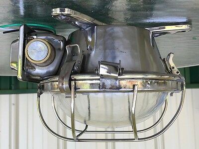 Salvaged Stainless Steel Nautical Ceiling Light - Great Industrial Look!