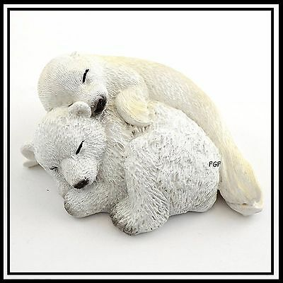Miniature Dollhouse FAIRY GARDEN Baby Polar Bear Sleeping with Baby Seal  4455