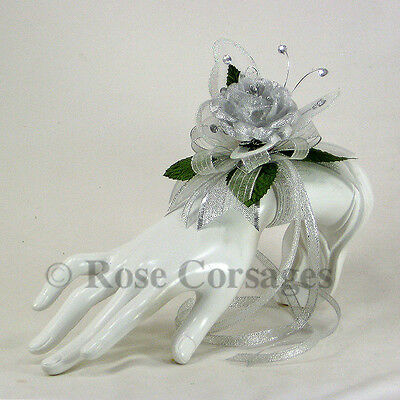 Silver Fabric Rose  on Silver Jeweled Butterfly Wrist Corsage