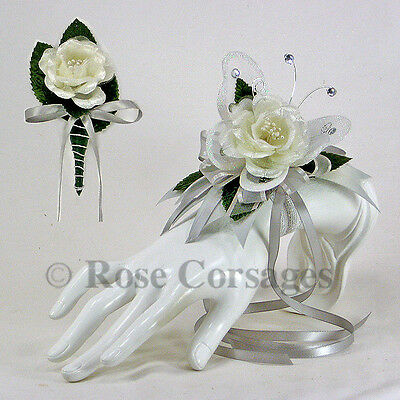 Ivory Satin Rose on Silver Greay Butterfly Wrist Corsage Combo