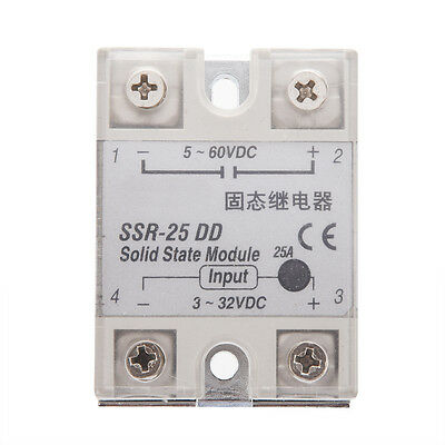 New Plastic Metal Solid State Relay SSR DC-DC 25A 3-32VDC/5-60VDC DT