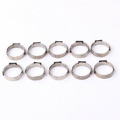 100PCS 1/2 PEX 17.5mm Stainless Steel Clamp Cinch Rings Crimp Pinch Fitting