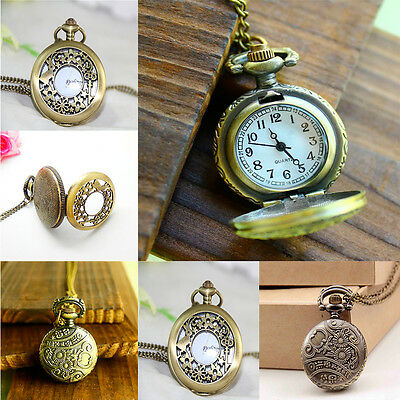 Classic Gold brass toe carved pendent ladies fashion necklace watch Brand New
