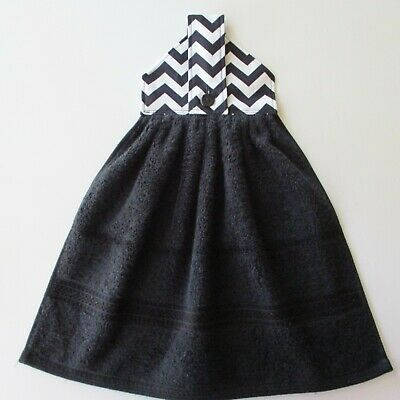 Jazberryz*Black/White Chevron *Kitchen Hanging Hand Towel Button Close Handmade