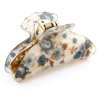 Woman Dark Blue Florals Pattern Plastic Hair Claw Clip Clamp T1