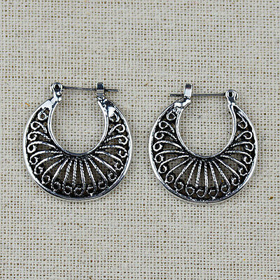 Retro Vintage Antique Silver Mesh Hoop Earrings For Women Lady Unique Design