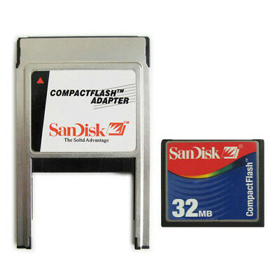 32MB CF CompactFlash with Compact Flash Card adapter SanDisk 32M PC PCMCIA Card
