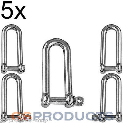 5x 6mm A4-AISI 316 Stainless Steel Long D Shackle FREE POSTAGE + PACKAGING!