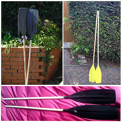2x 4FT Wooden Handle Oars Shaft With Black Blade Plastic Paddle Dinghy Boat Raft