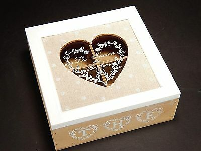 Wooden Vintage Style Jewellery Trinket Tea Storage Box With Compartments # 11