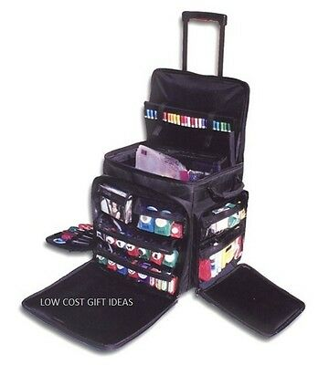 Scrapbook Tote On Wheels Portable Rolling Scrapbooking Travel Storage Case Craft