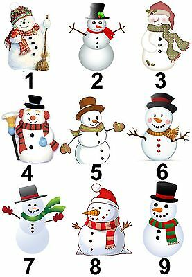 Snowman Small or Large Sticky White Paper Stickers Labels NEW