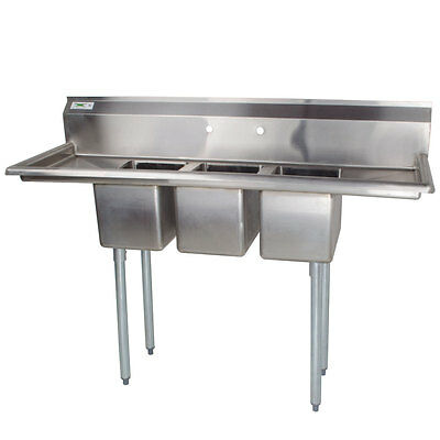"66"" Stainless Steel 3 Compartment Commercial Sink with 2 Drainboards"