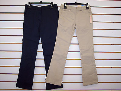 Girls Dockers Navy or Khaki Skinny Stretch Bootcut Uniform Pants Size 5 - 14