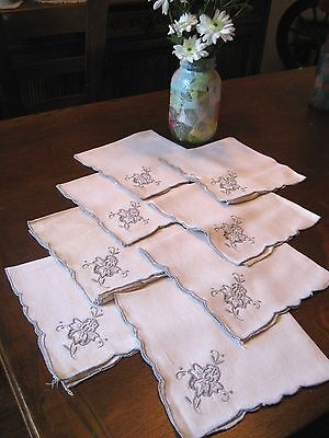 "SET of 8 Vintage Madeira TAUPE EMBROIDERED CREAM LINEN Dinner Napkins - 16""x 16"""