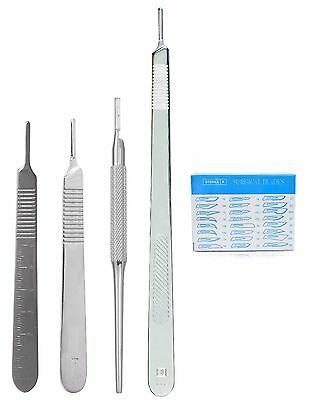 4 Assorted Scalpel Knife Handle #3 + 100 Surgical Sterile Dissecting Blades #11