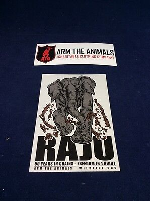 """Arm the Animals RAJU 50 Yrs In Chains Sticker 4.25"""" X 6"""" Animal Rights FREE SHIP"""