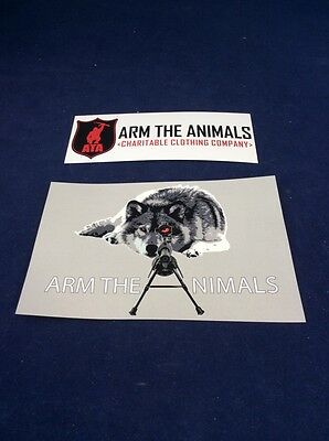 "Arm the Animals SNIPER WOLF Sticker 4"" X 6"" Animal Rights FREE SHIP"