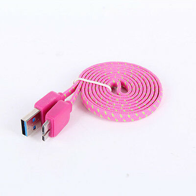 Samsung Note 5 Medium Pink Braided 3 FT Flat Data Cable Charger