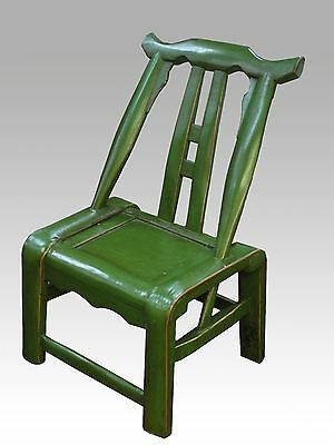 A Chinese Antique Green Color Wood Chair With Backrest